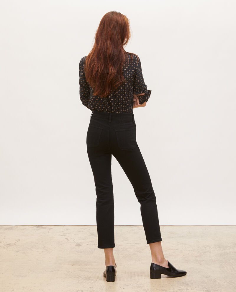 SLIM HIGH RISE - Jean cropped 5 poches Noir denim Merville