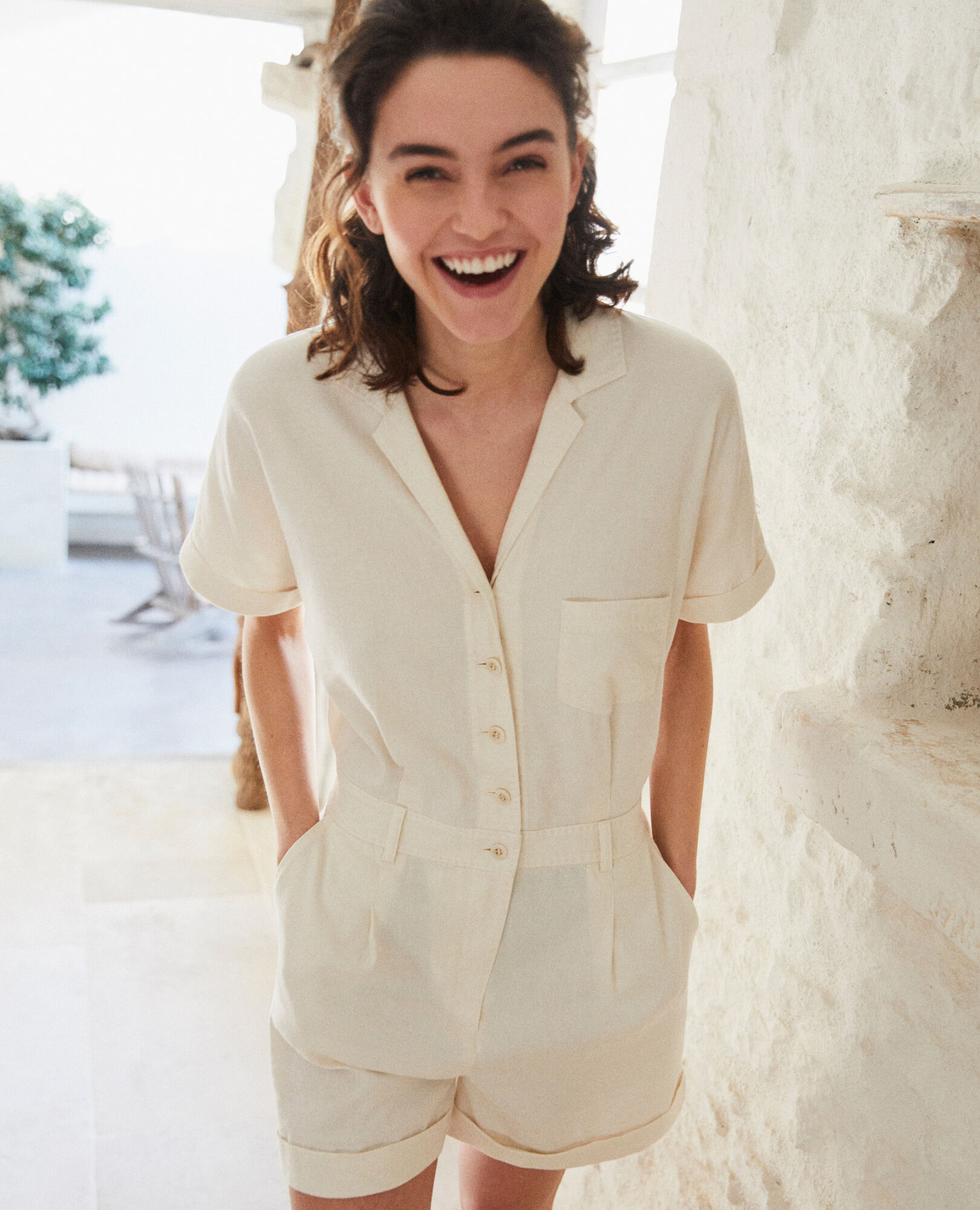 Combi-short col tailleur Off white