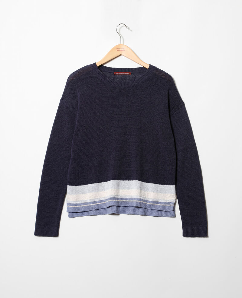 Pull col rond avec du lin Ink navy Iraye