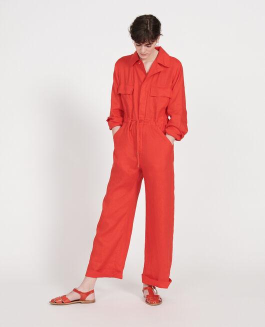 Combinaison pantalon en lin FIERY RED