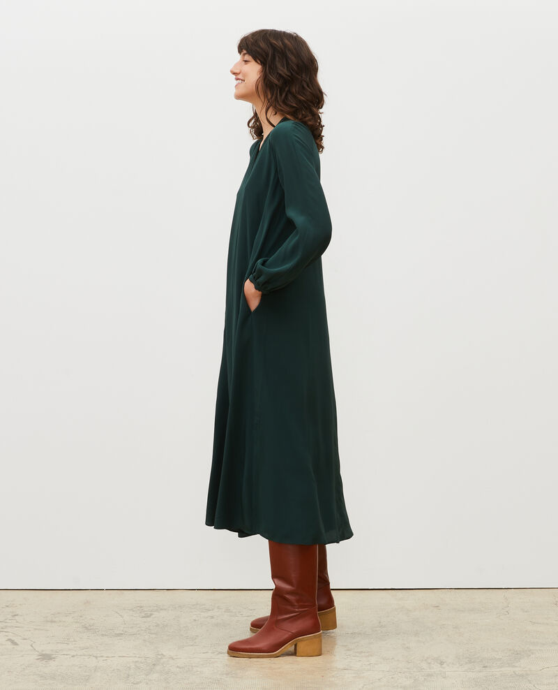 Robe longue en soie ceinturée col V Scarab Marieux