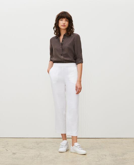 Pantalon fluide élastiqué en polyester OPTICAL WHITE