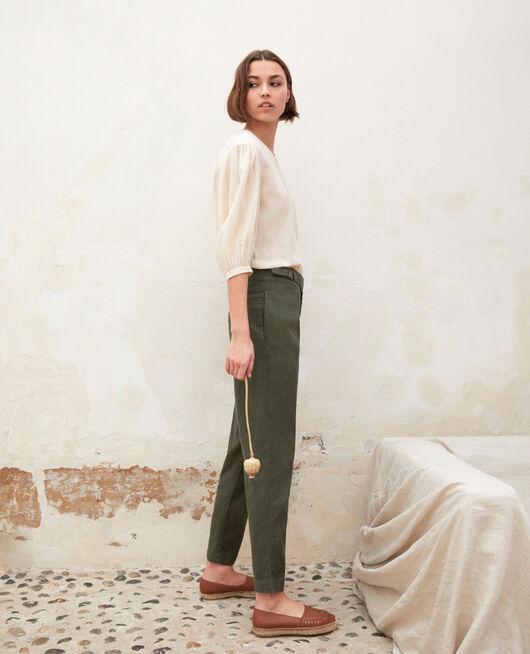 Pantalon avec du lin MILITARY GREEN