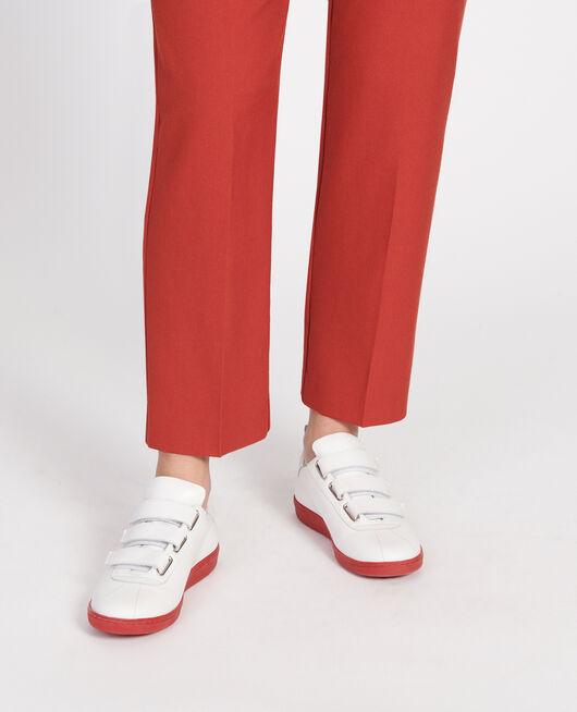 Sneaker en cuir avec pattes velcro WHITE FIERY RED