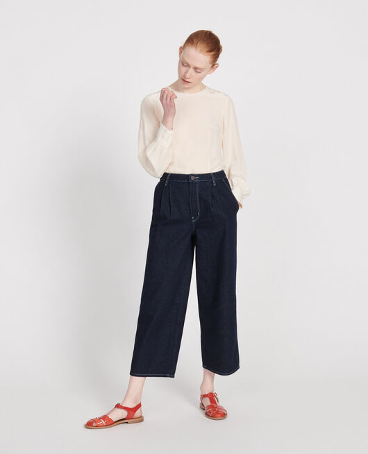 Jean wide leg cropped  DENIM RINSE