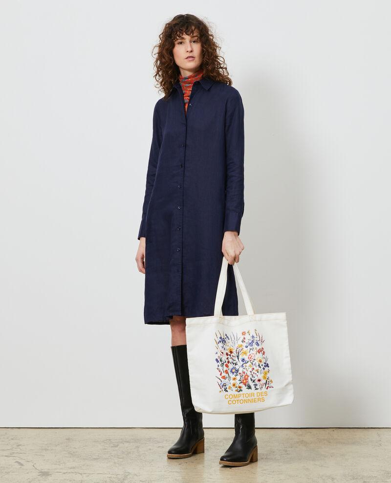 Robe chemise en lin Maritime blue Lesprit