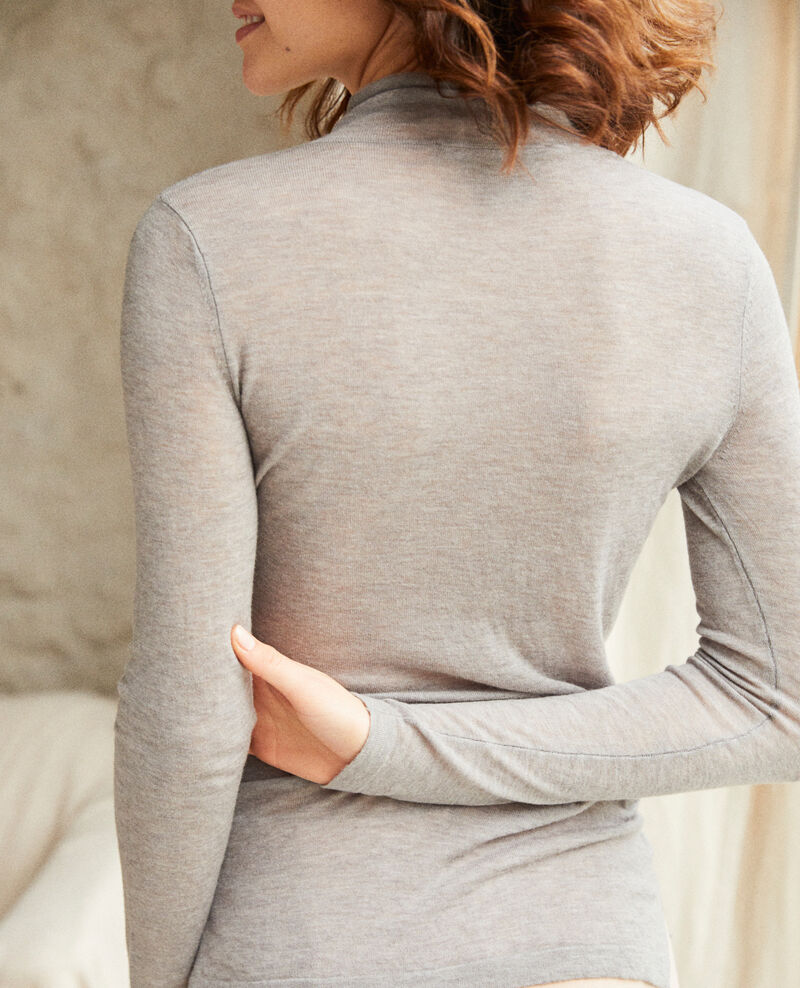Pull fin en laine col montant Heather light grey Ilfried