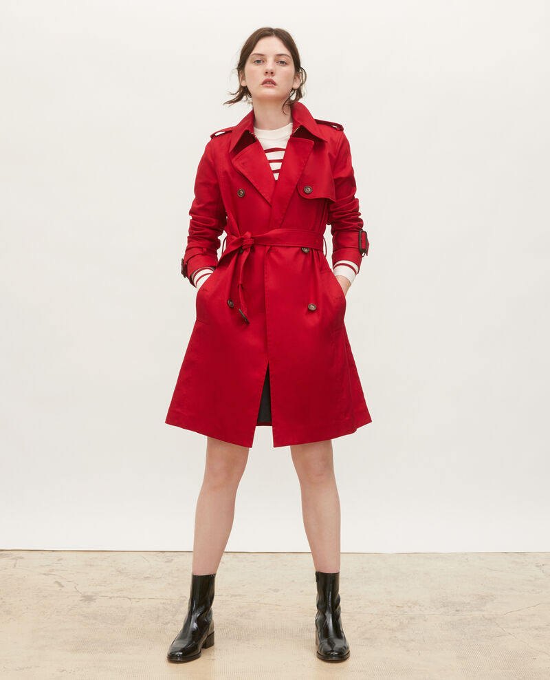 Trench ceinturé mi-long en coton Royale red Mambert
