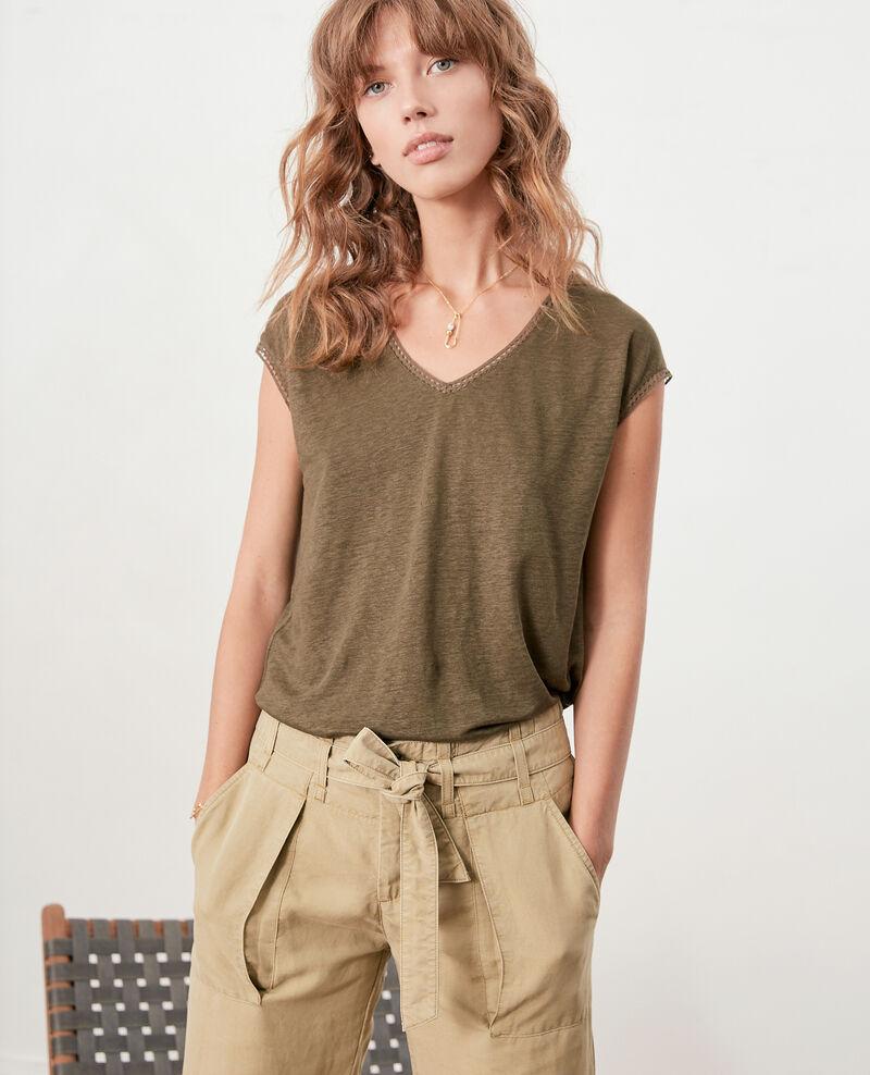 T-Shirt en lin Dark kaki Fevian