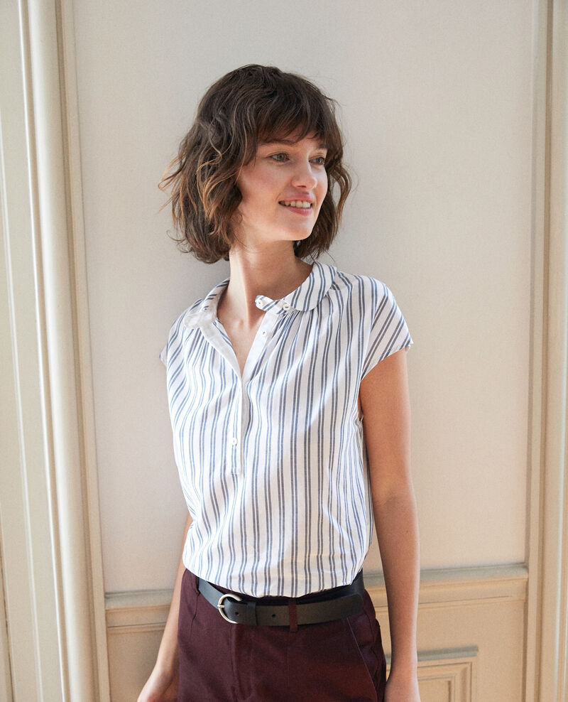 Chemise à col rond Off white/majolica blue stripes Garconne