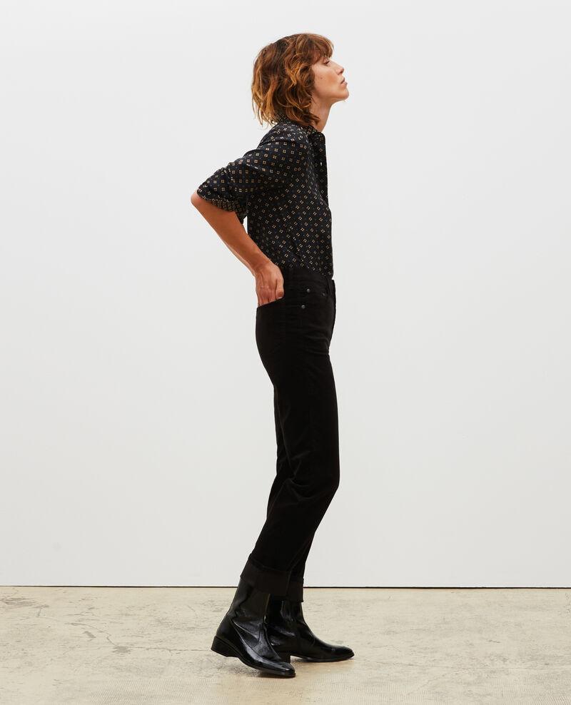 SLIM STRAIGHT - Jean droit en velours lisse 5 poches Black beauty Muillemin