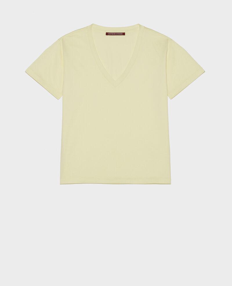 T-shirt en coton à manches courtes col V Tender yellow Laberne