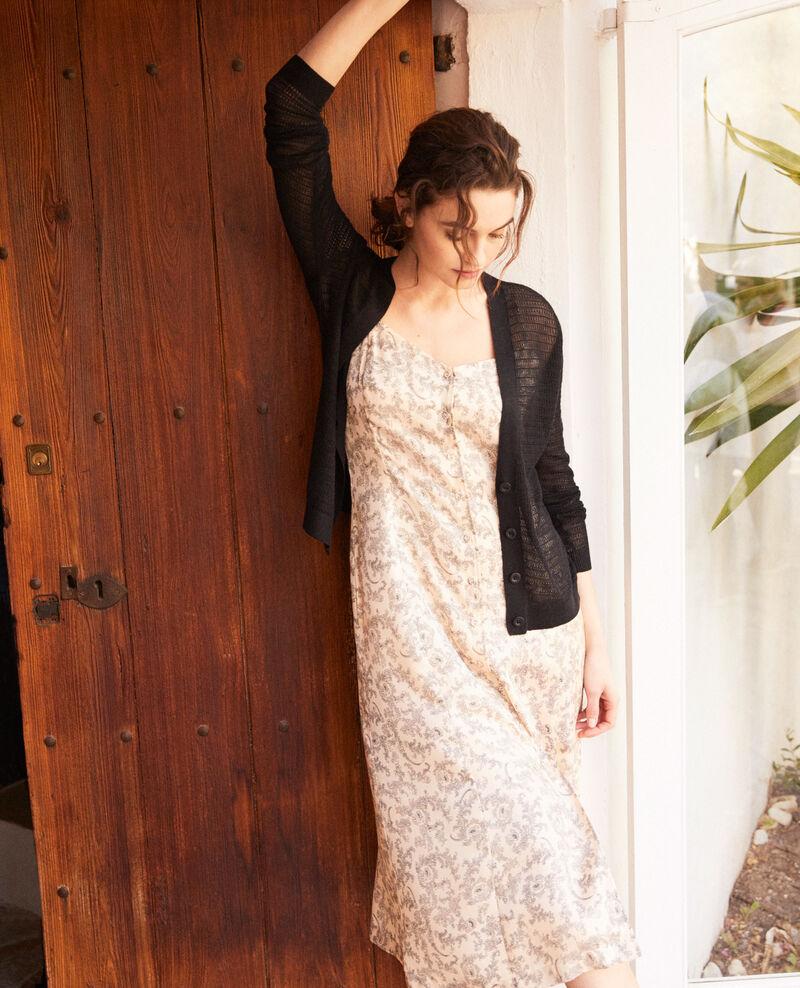 Cardigan en maille ajourée en coton et soie Noir Icardi