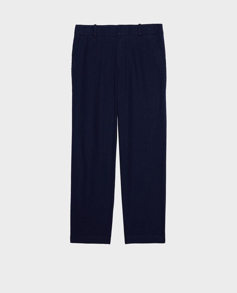 Pantalon 7/8e en lin Maritime blue Laiguillon