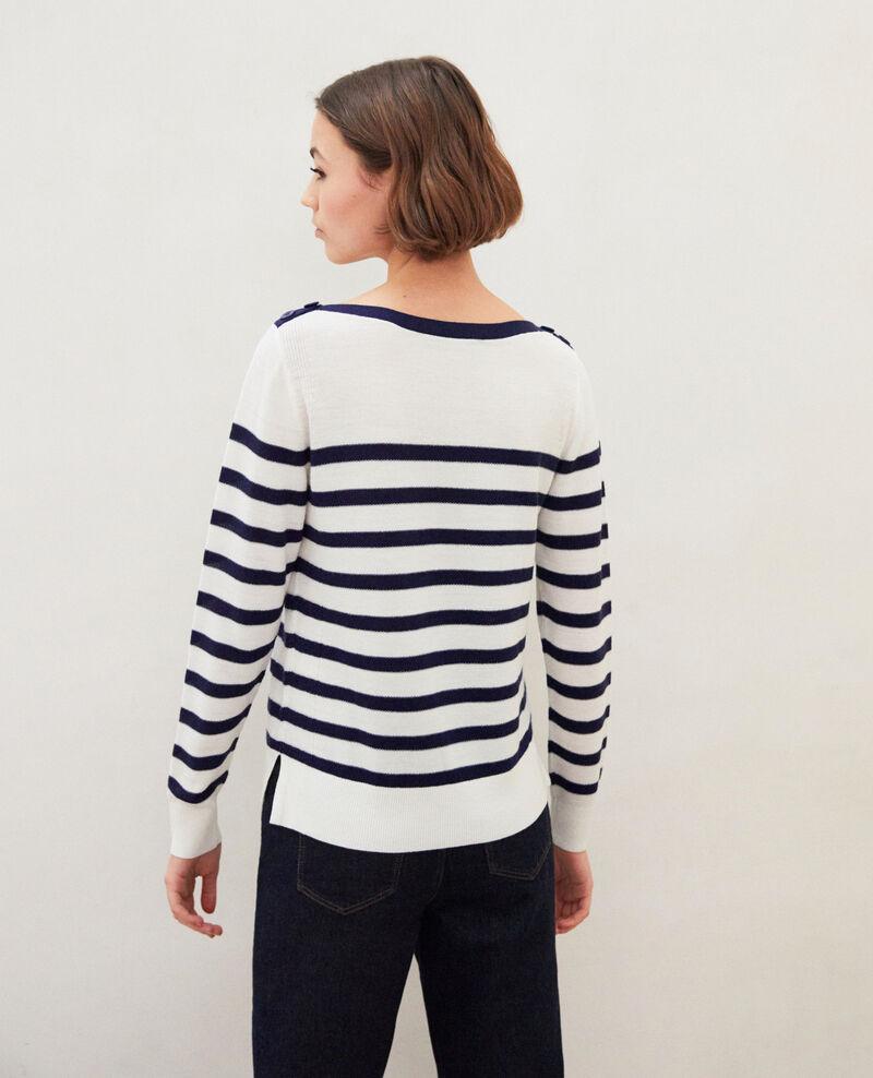 Pull marinière en laine Off white/navy Ibateau