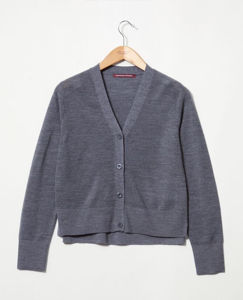 Cardigan fin en laine mérinos Dark heather grey 9idada