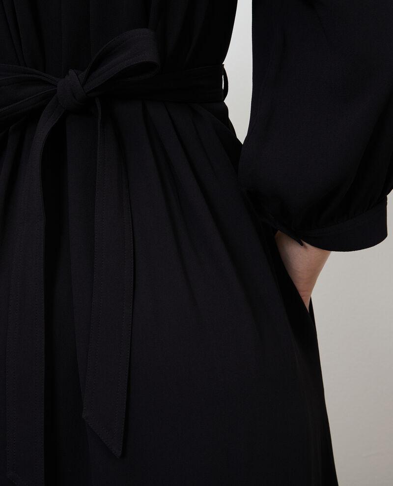 Robe longue ceinturée fluide Black beauty Nature