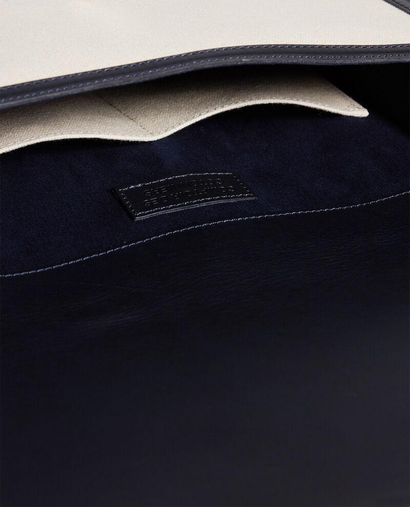 Sac à rabat en toile et cuir Gardenia maritime blue Lettre