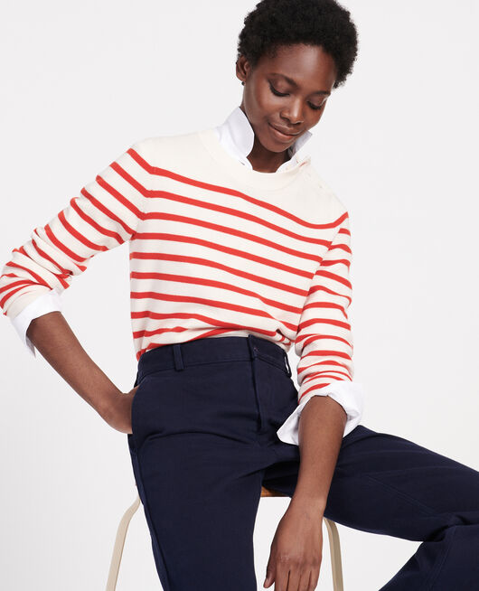 Pull marin en laine STRIPES FIERY RED GARDENIA