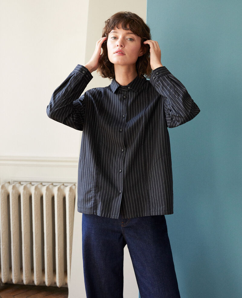 7da37cf55578e Chemise noire femme coupe droite - Goran   Comptoir des Cotonniers