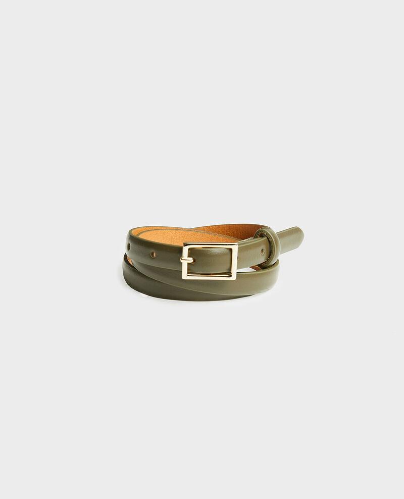 Fine ceinture cuir boucle rectangulaire Military green Meillard
