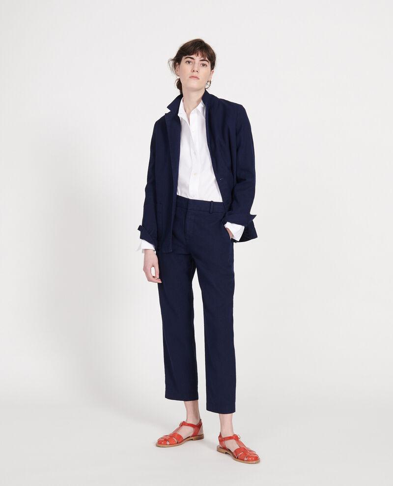 Veste de costume en twill de lin et coton mélangés Maritime blue Lalbere