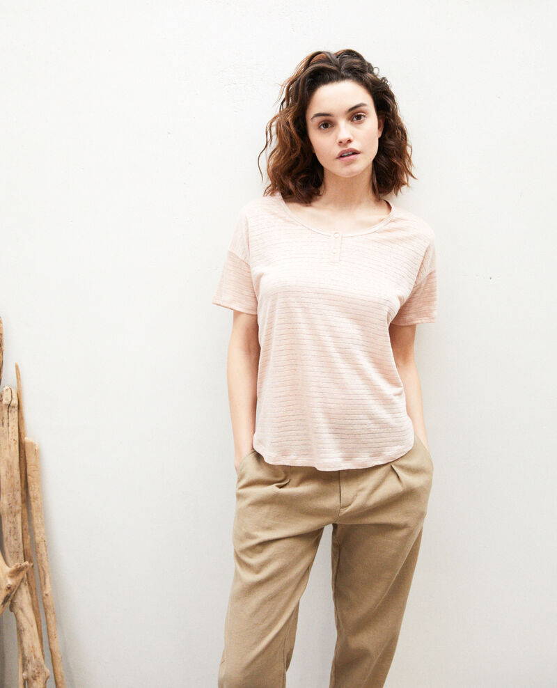T-shirt brillant avec du lin Pink beige Imape