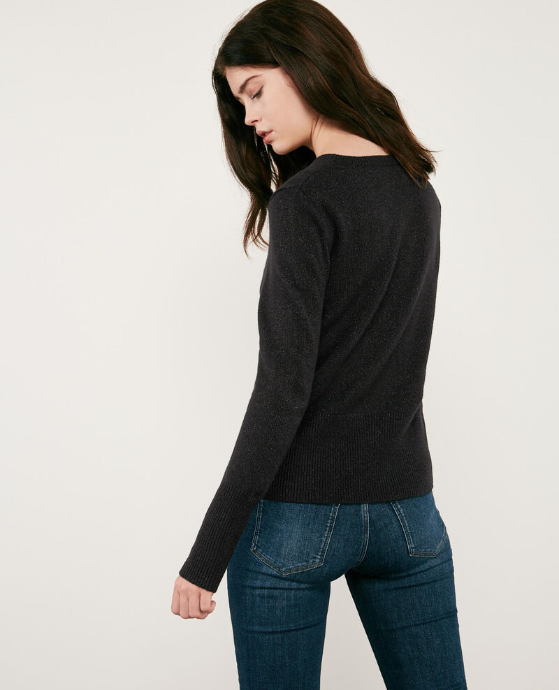 Pull scintillant avec lurex et laine Noir Doupida