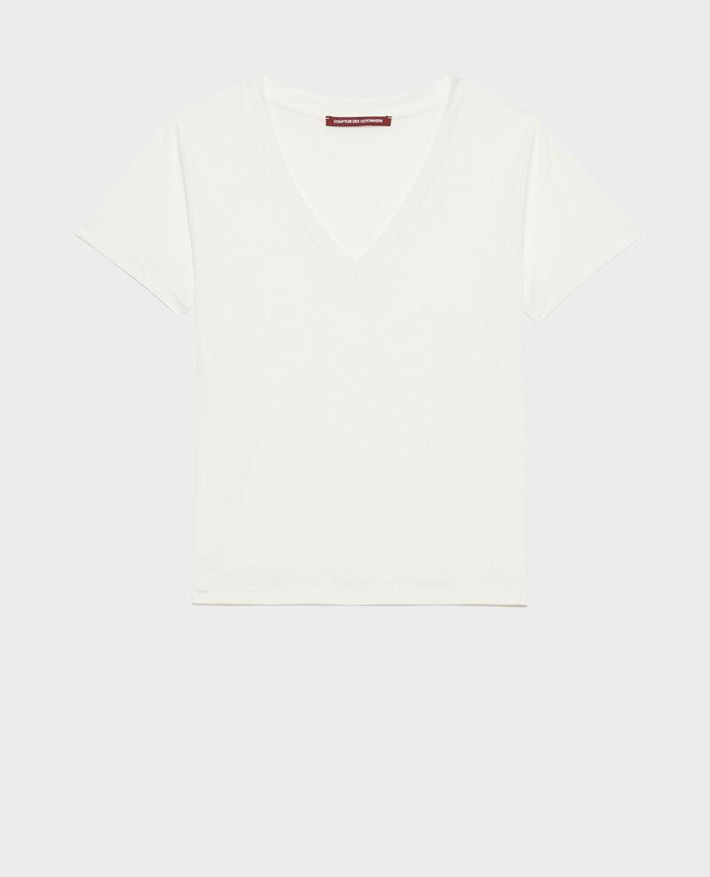 T-shirt fluide col V Cloud dancer Paberne