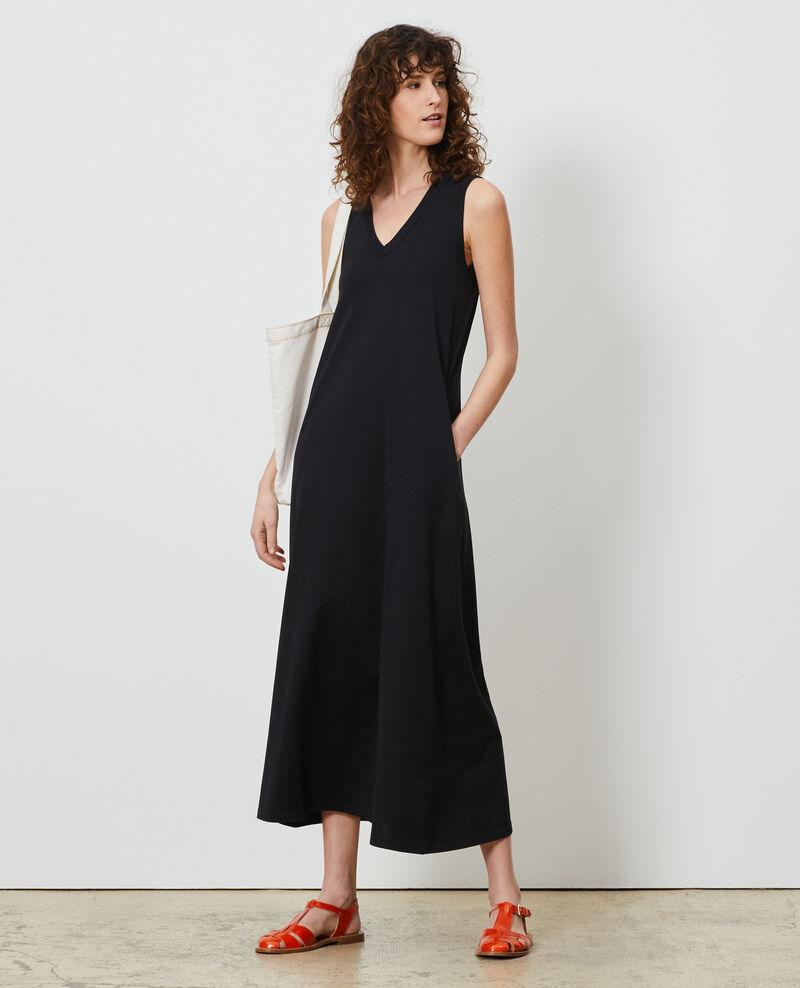Robe longue col V coton Black beauty Larosa