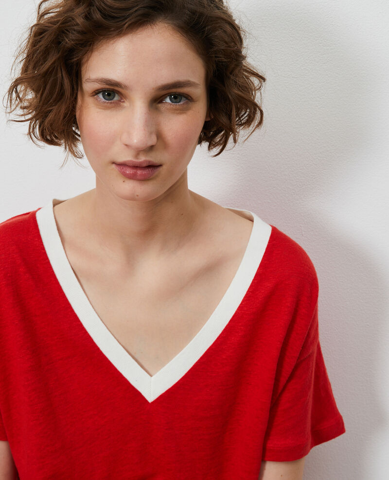 T-shirt col V en lin Str fieryred gardenia Locmelar