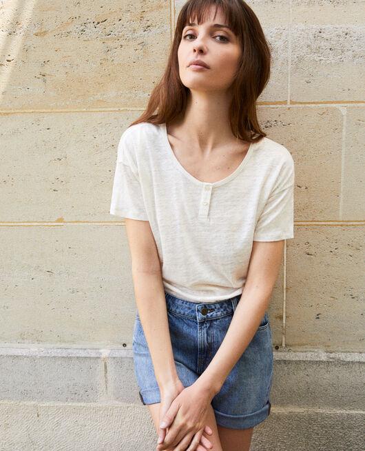 T-shirt effet brillant en lin OFF WHITE