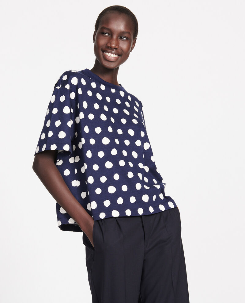 T-shirt boxy à pois en coton Dots maritime blue Lenoyer