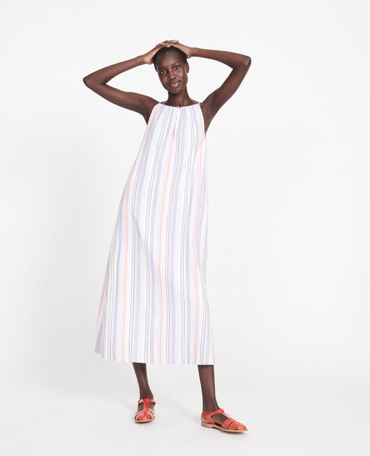 Robe longue en coton STRIPES MULTICO