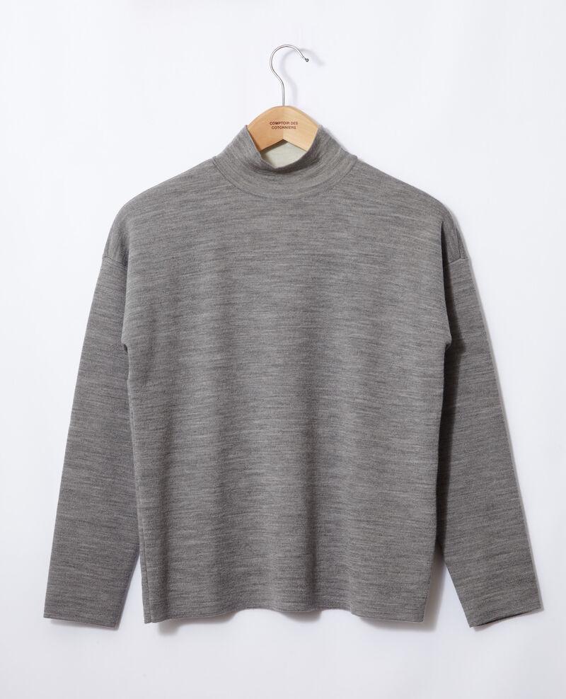 Pull double face en laine mérinos Light heather grey/off white Gibbon