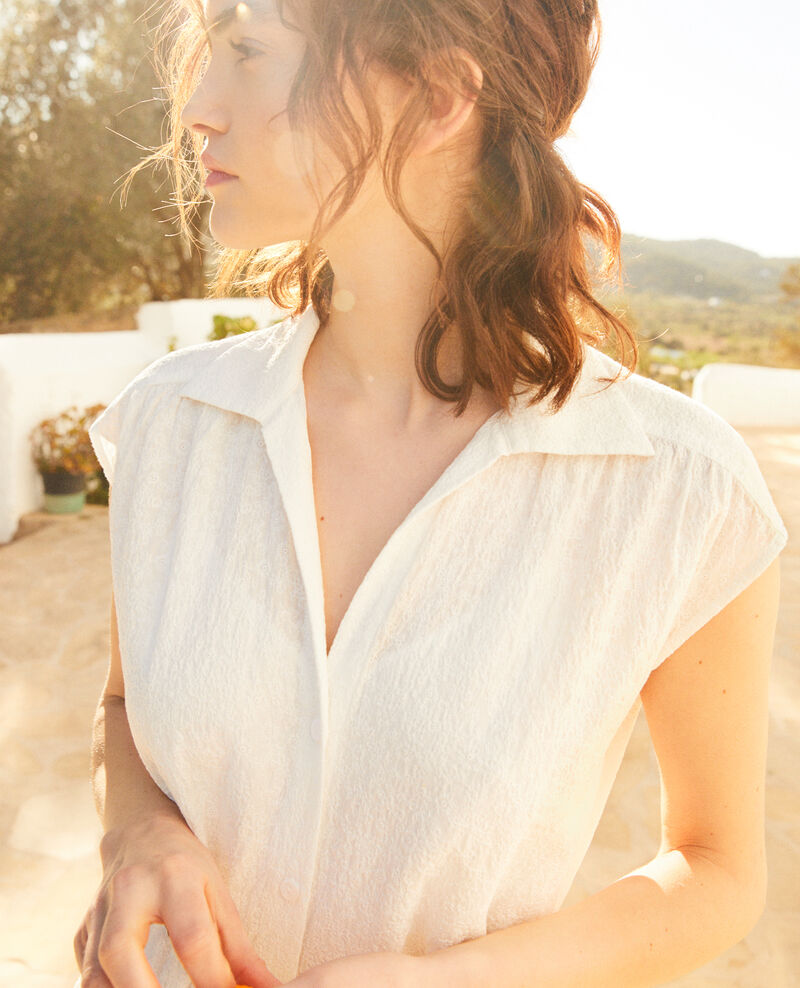Robe chemise en coton brodé Off white Illisme