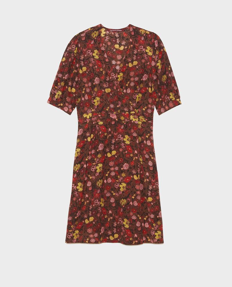 Robe cache-cœur courte en soie fleurie Print eden tortoiseshell Meanie
