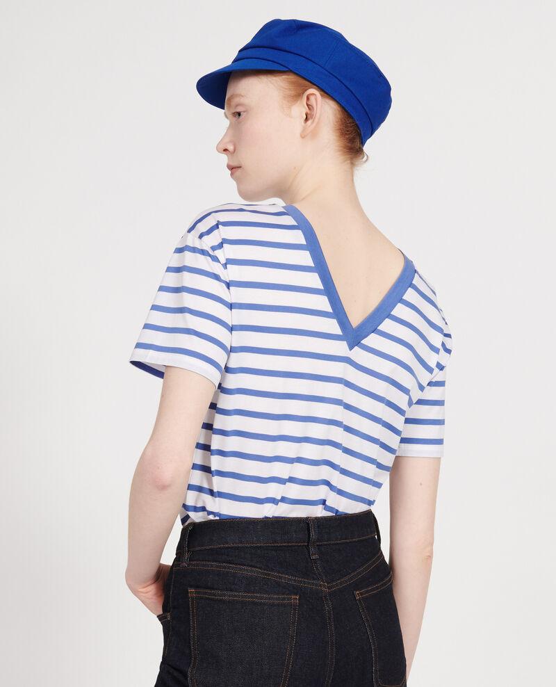 T-shirt en coton égyptien Stripes optical white amparo blue Lisou