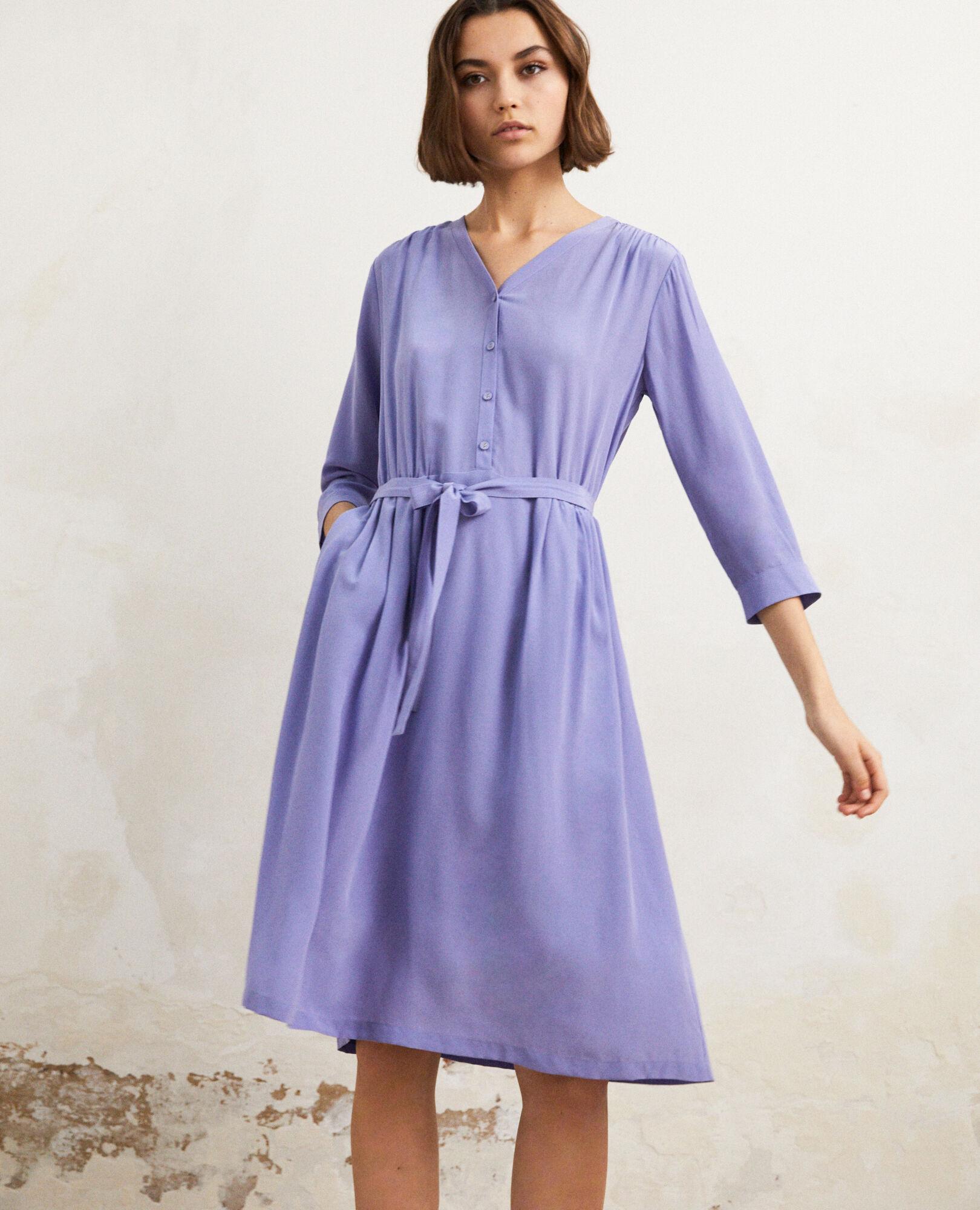 Robe Idalie Violet Soie Des La Longueur Comptoir Midi Avec ZCOqrZw
