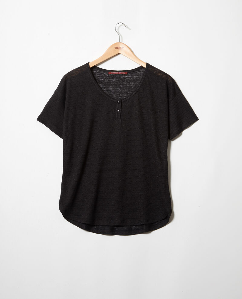 T-shirt brillant avec du lin Noir Imape