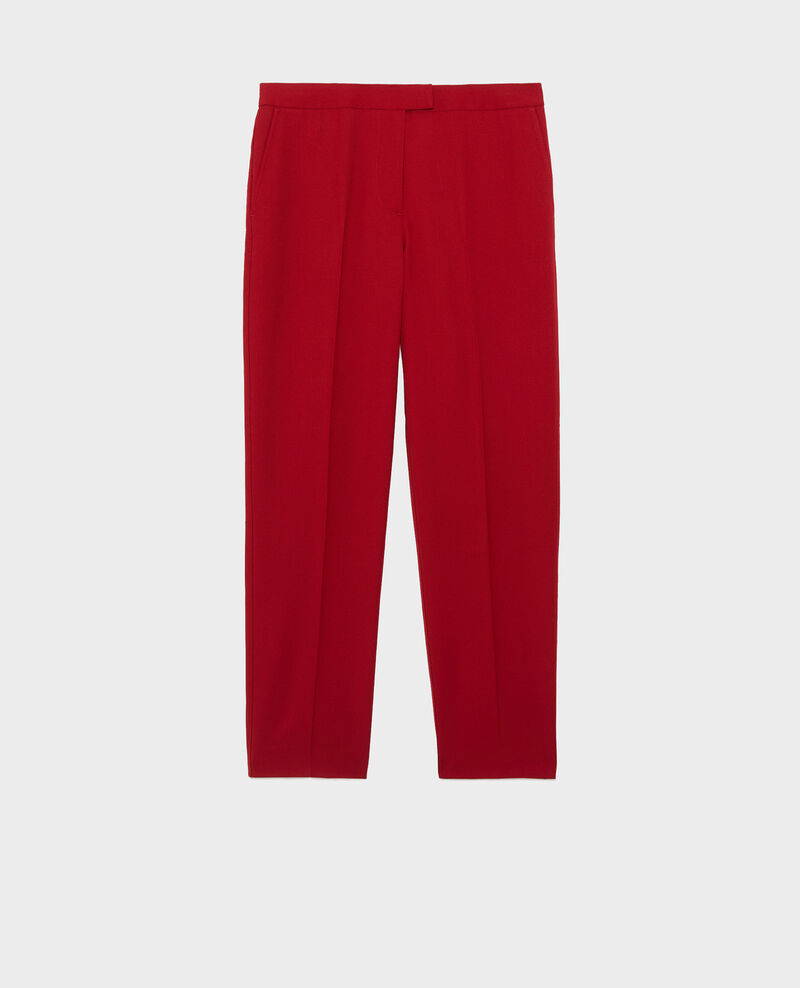 Pantalon MARGUERITE, 7/8e cigarette en laine Royale red Moko