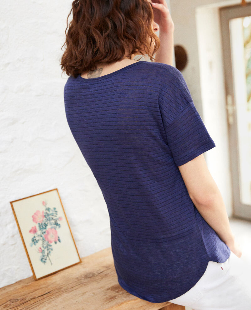 T-shirt brillant avec du lin Sapphire navy Imape