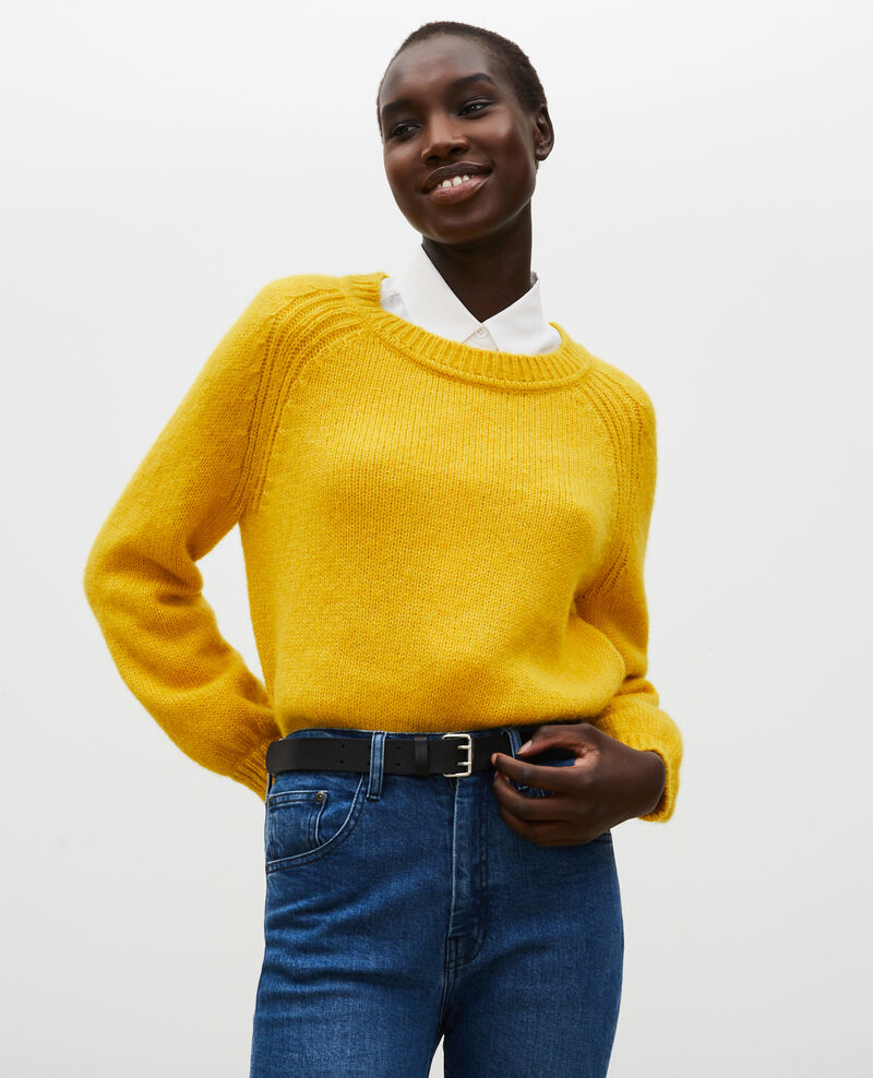 Pull large à col bateau en laine Lemon curry Mombrier