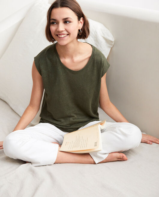 T-shirt en lin brodé CHENG OLIVE