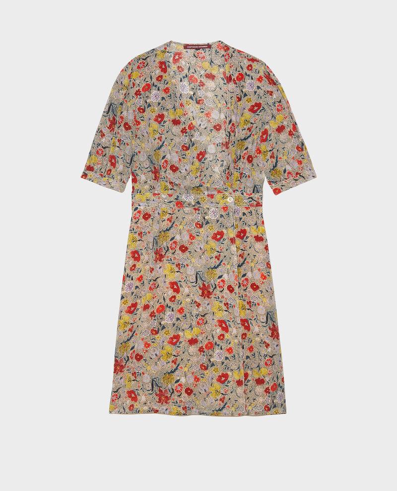 Robe cache-cœur courte en soie fleurie Print eden cream Meanie