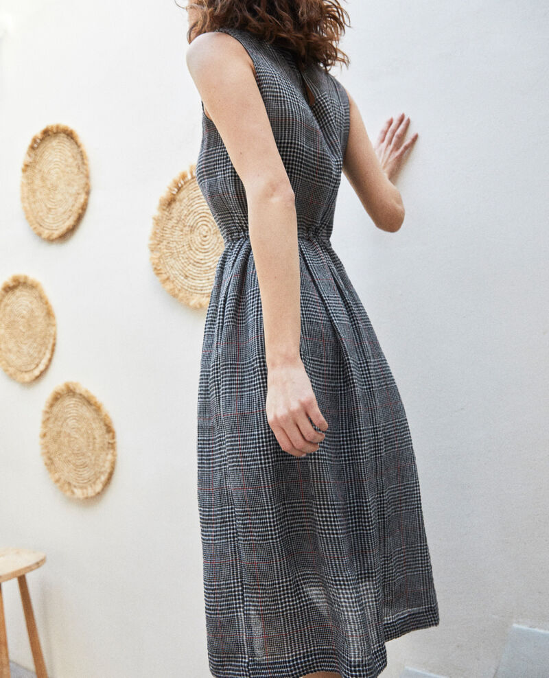 Robe mi-longue avec du lin Noir/blanc/rouge Ilibe