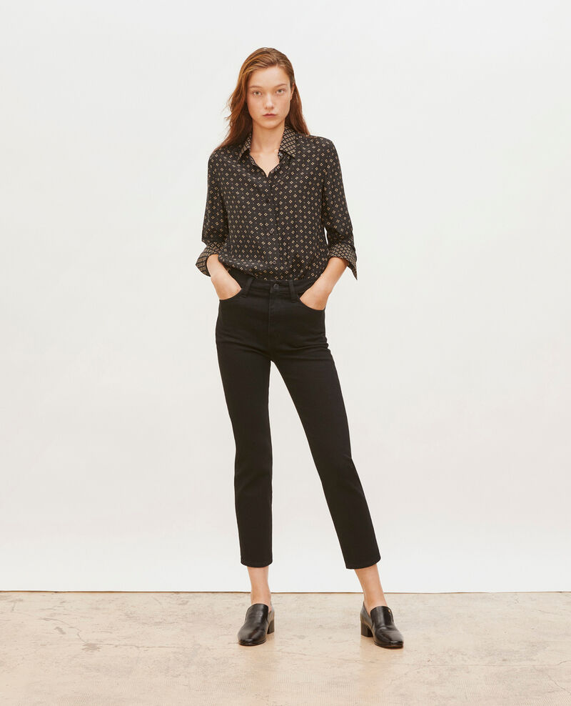 SLIM HIGH RISE - Jean cropped 5 poches Noir denim Merville