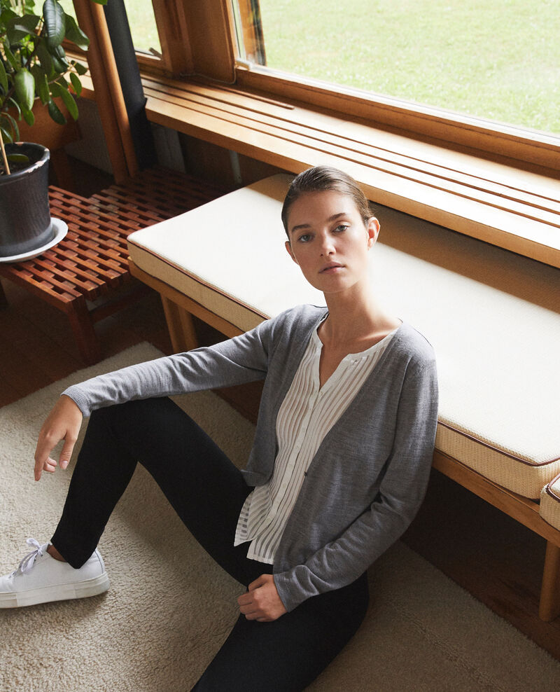 Cardigan-blouse trompe-l'œil Light grey/off white Gapristi