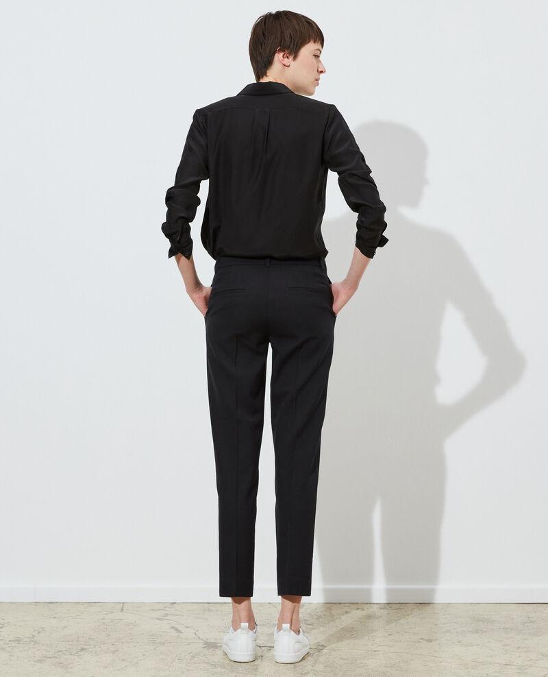 Pantalon MARGUERITE, 7/8e cigarette en laine Black beauty Noko