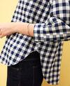 Chemise col rond à carreaux Navy/blanc Ivonnu